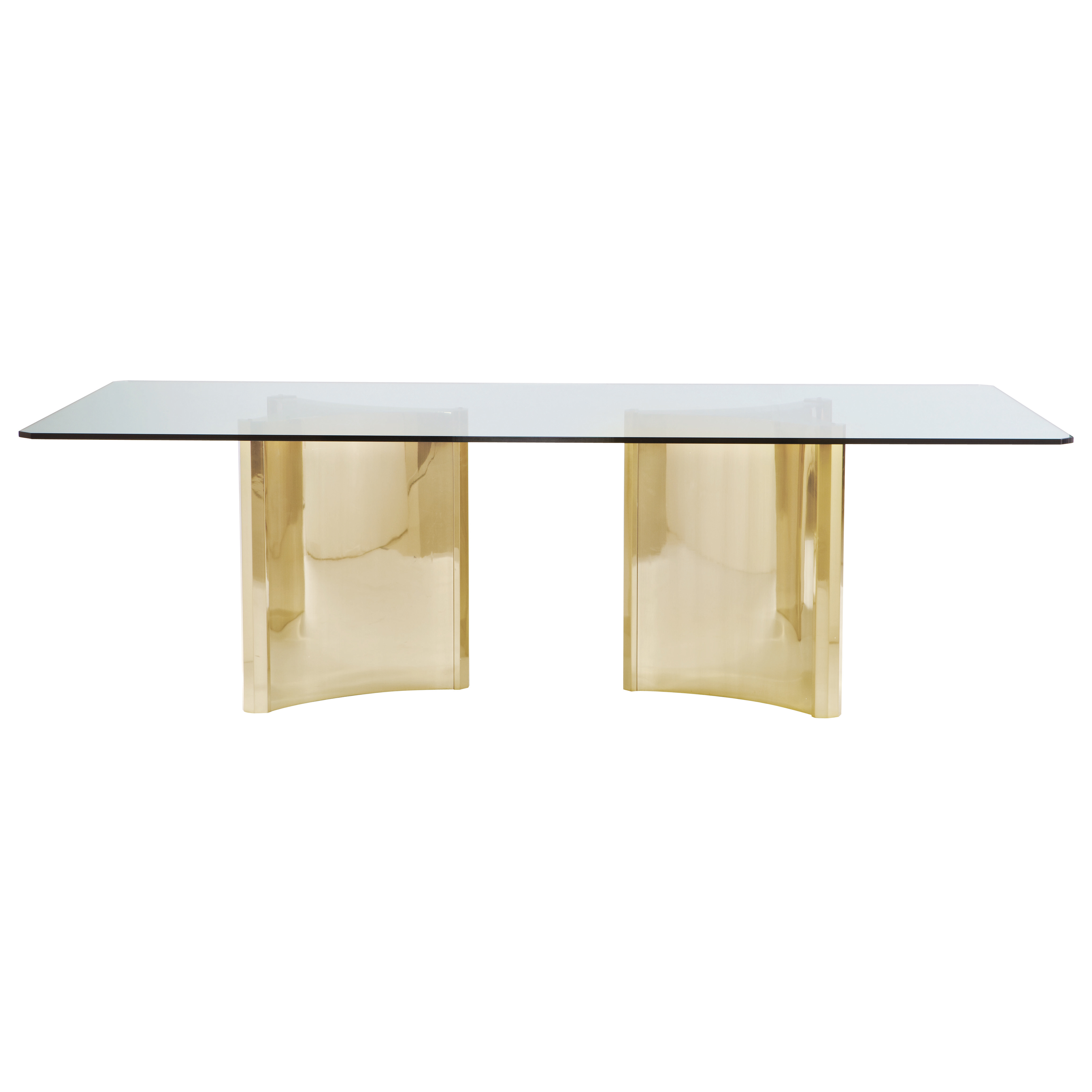 Ellen Modern Sleek Gold Double Pedestal Glass Dining Table