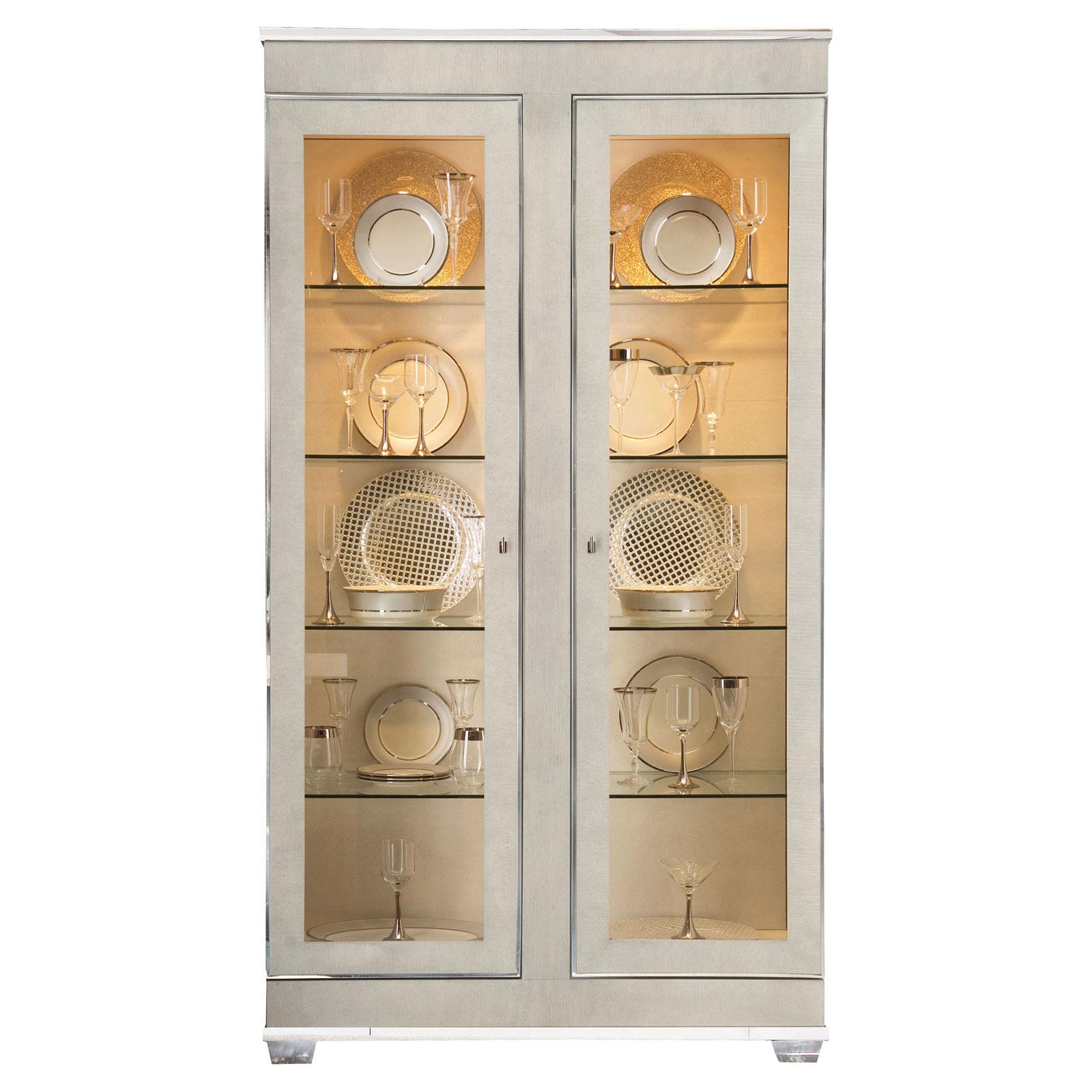 Gretta Grey Regency Polished Glass Front Display Cabinet
