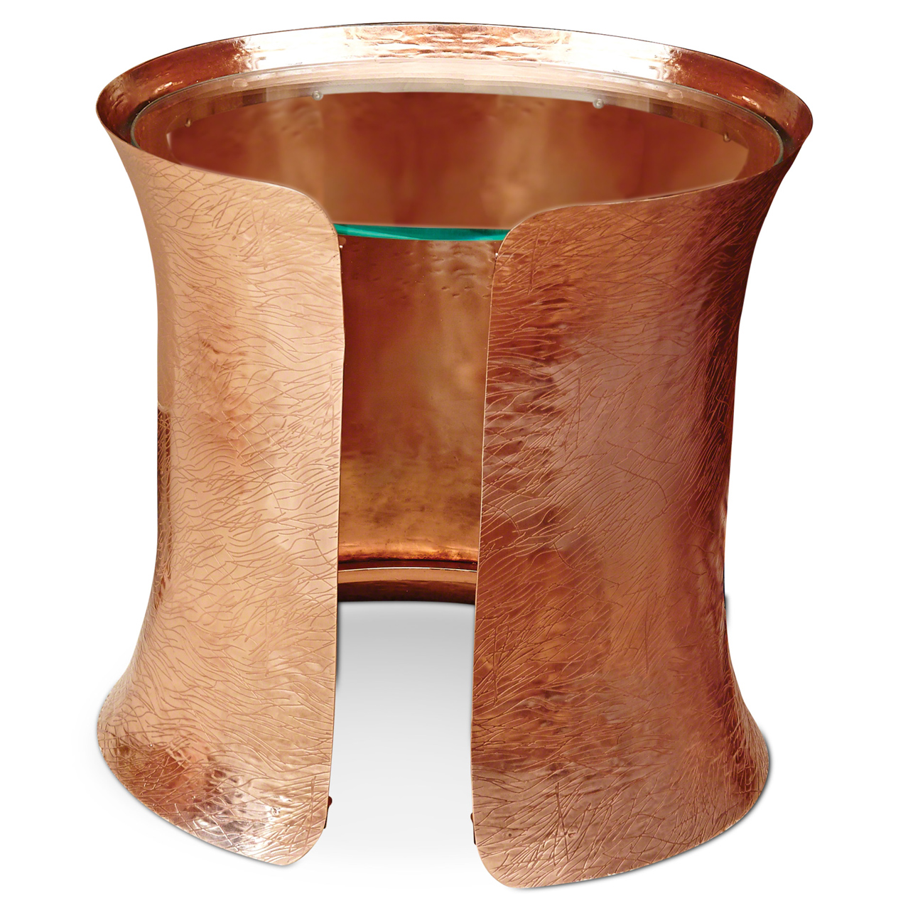 Bajaj Global Bazaar Copper Cuff Glass Top End Table