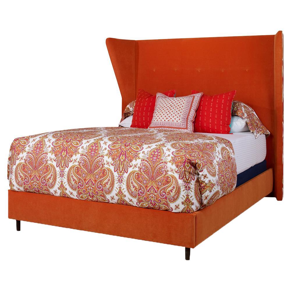 Brent Modern Classic Orange Velvet Queen Wing Bed