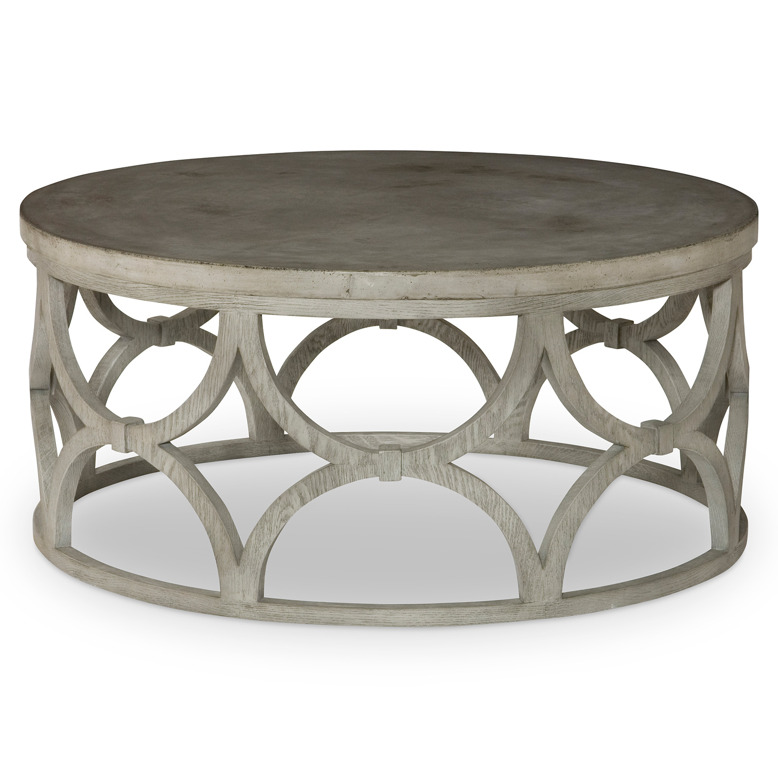 Mr Brown Wolfgang Modern Slate Oak Round Outdoor Coffee Table