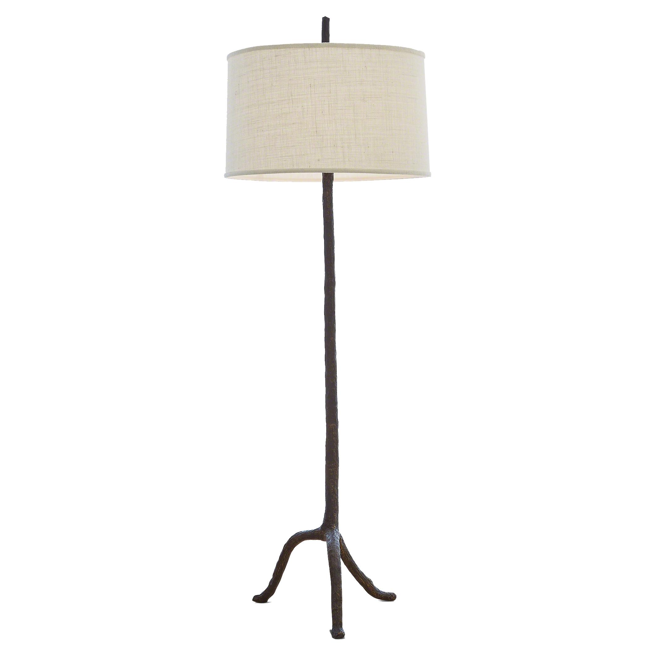 Missoula Rustic Lodge Brown Walking Stick Burlap Shade Floor Lamp