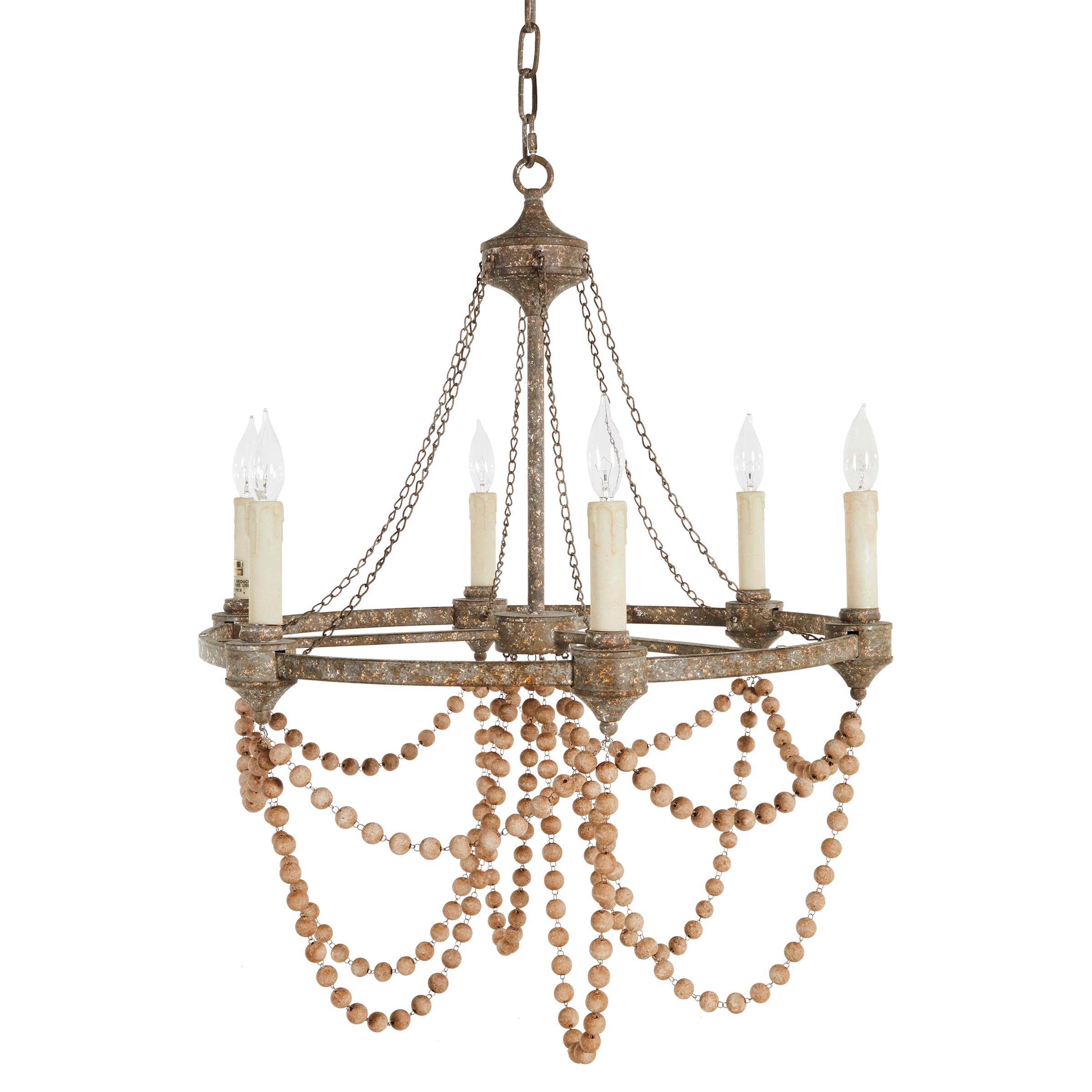 French country kathy kuo home auvergne french country rustic iron white bead chandelier aloadofball Choice Image