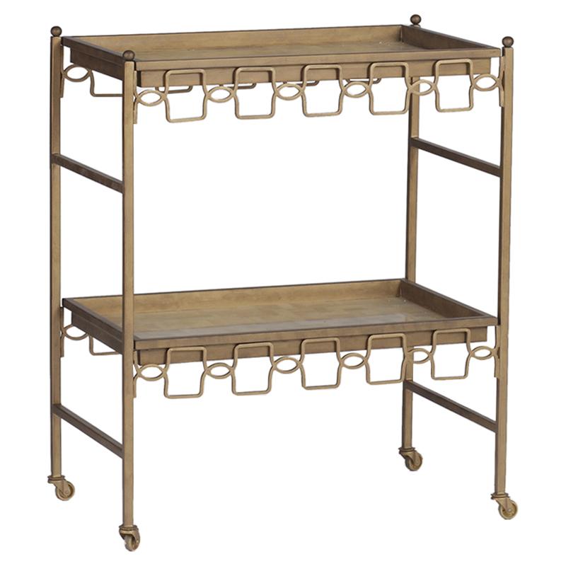 O'Hara Regency Matte Gold White Horn Bar Cart
