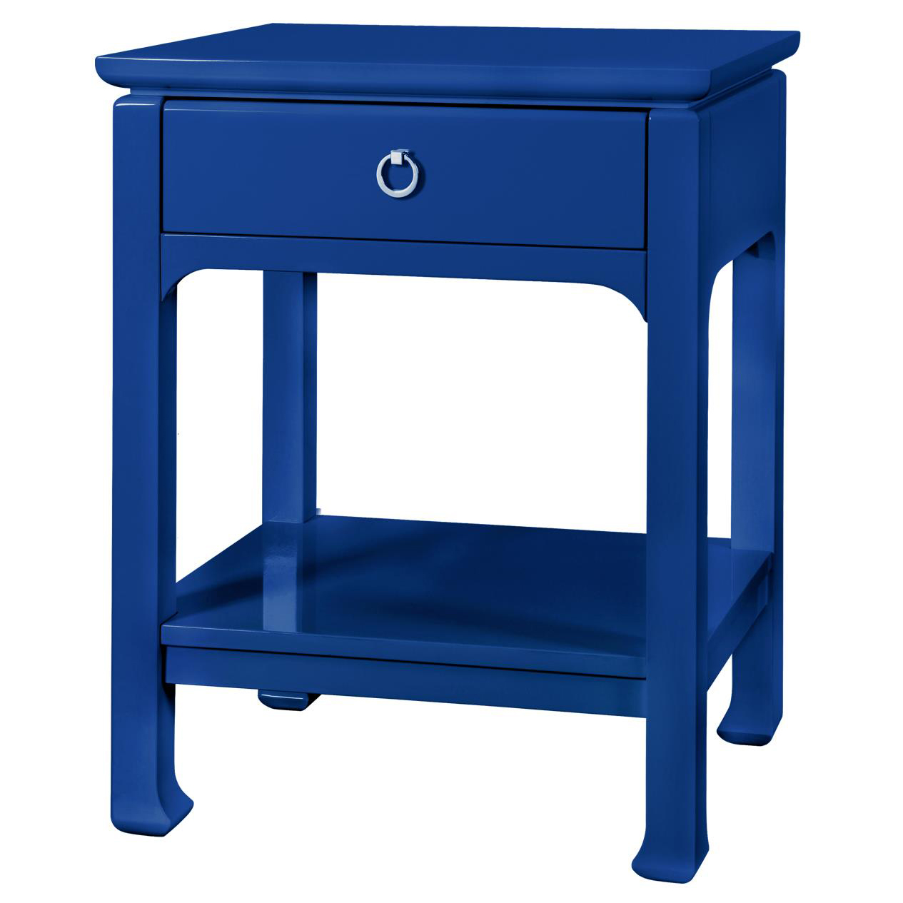 Bruna Top Drawer Regency Blue Lacquer Nightstand
