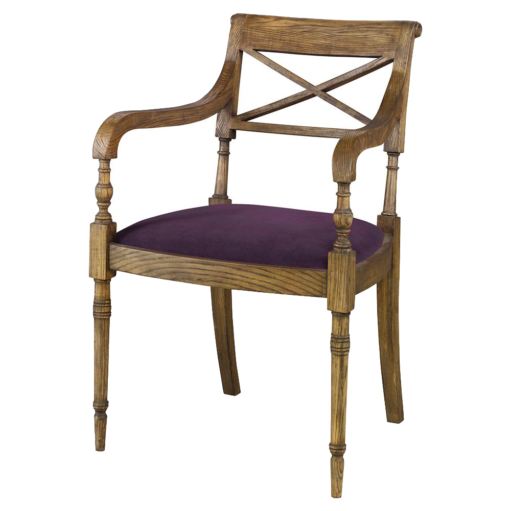 Vendee French Rustic Oak Arm Chair - Purple Thistle Velvet