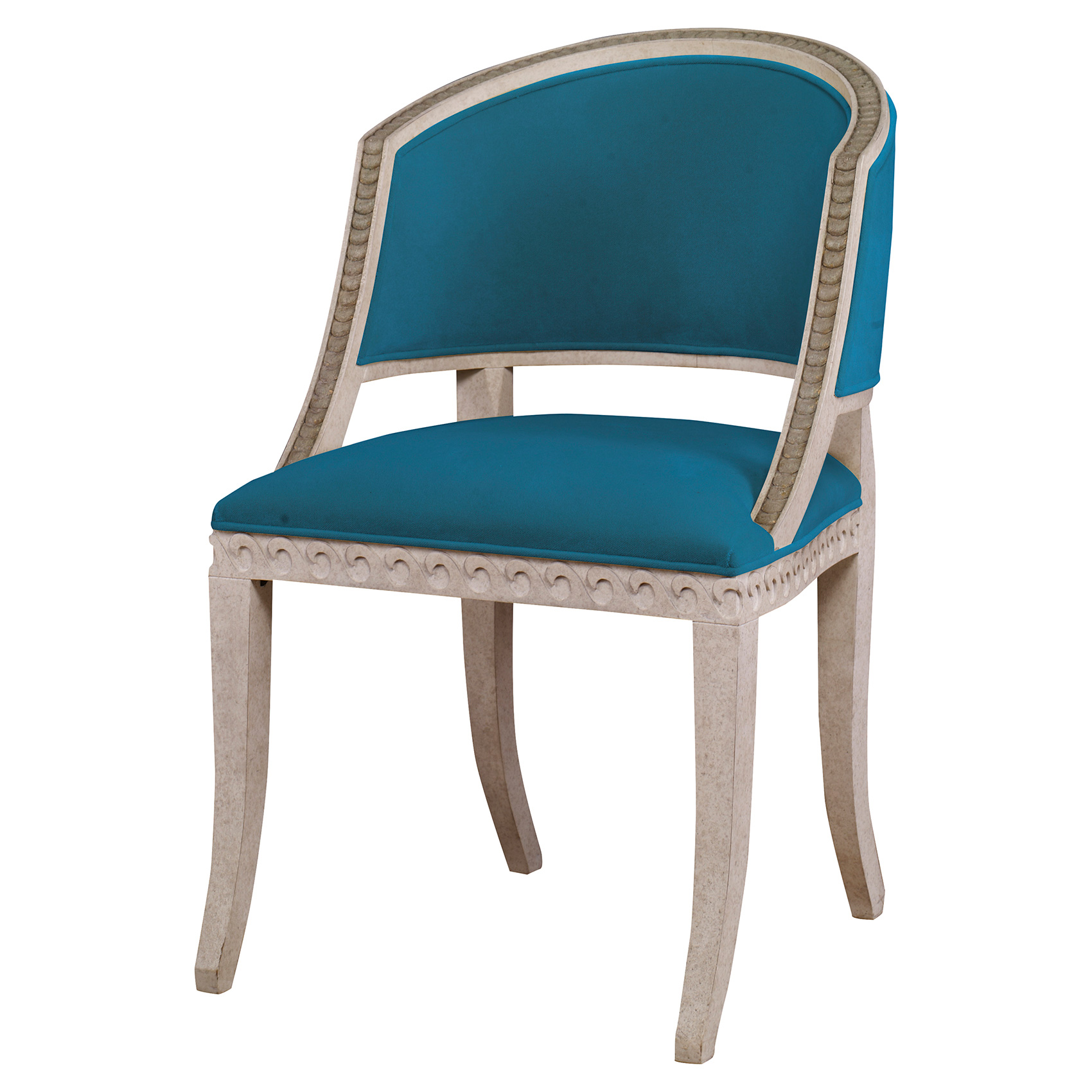 Augusta Regency Gilt Wave Chair - Prussian Teal Velvet