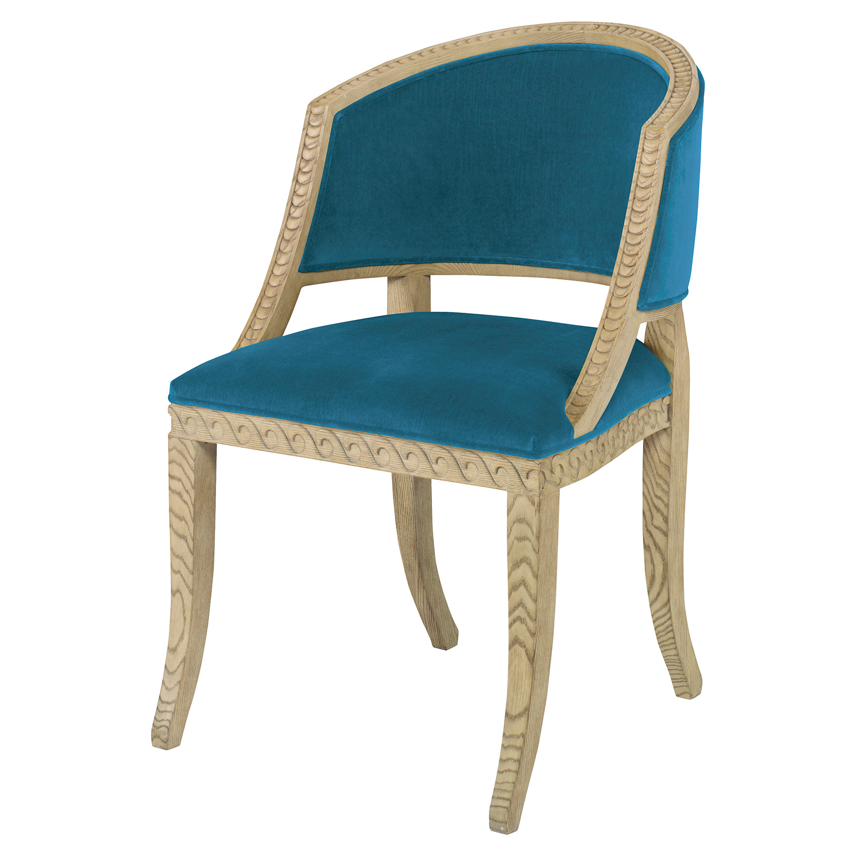 Augusta Regency Ash Wave Chair - Prussian Teal Velvet