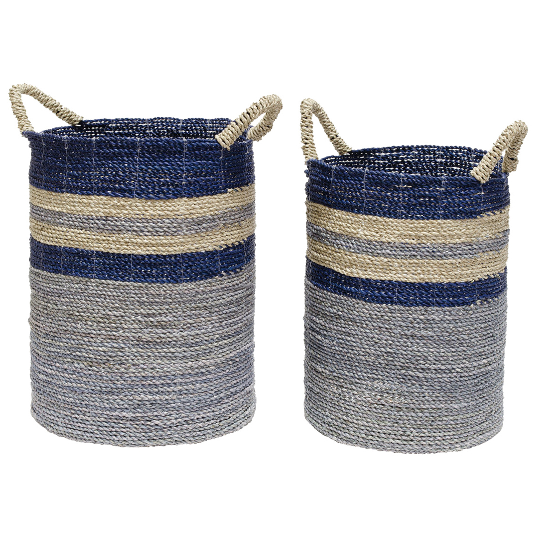 Palecek Bayshore Coastal Beach Seagrass Striped Blue Ocean Baskets   Set Of  2