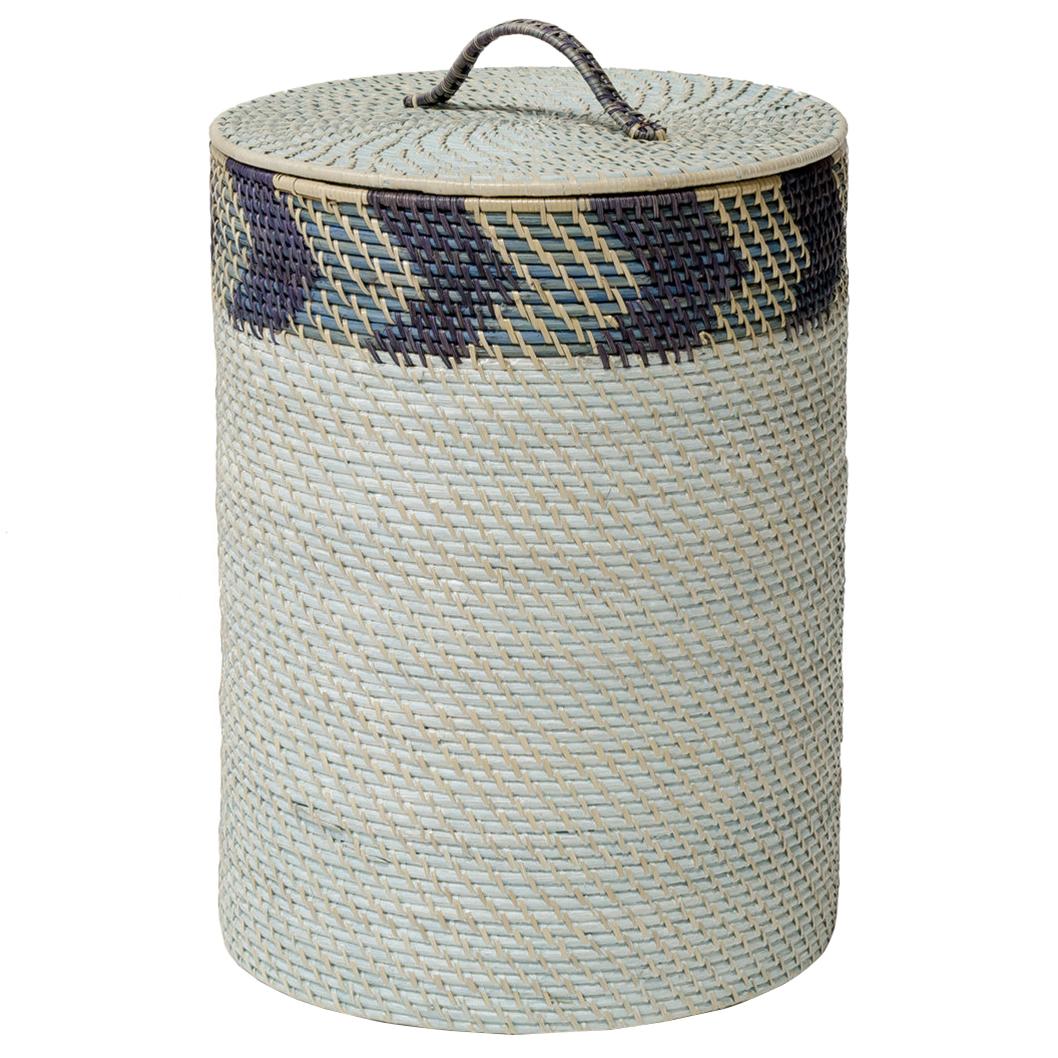 Palecek Chevron Hamper Coastal Global Blue Grey Chevron Rattan Storage  Basket