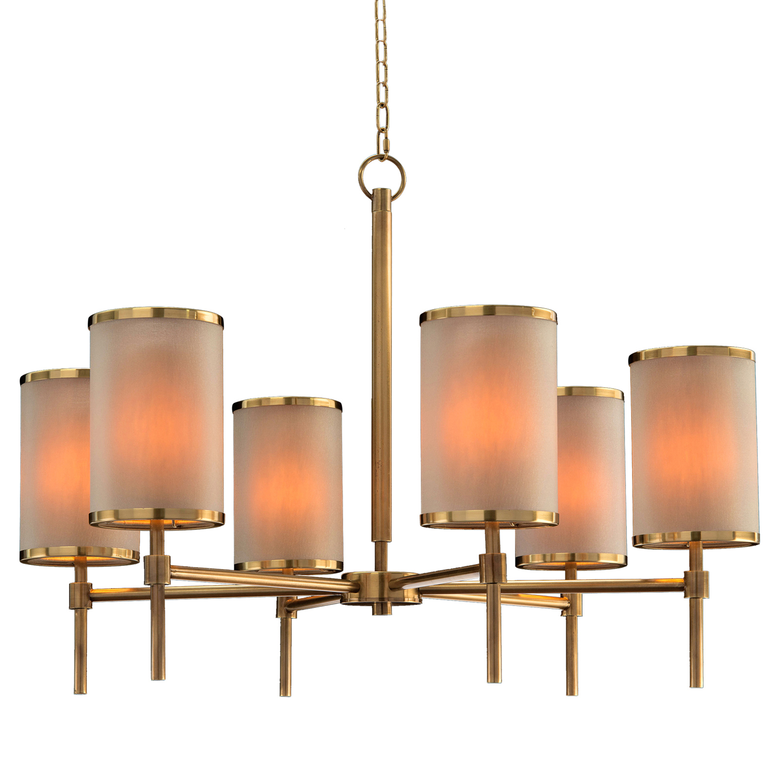 Dooley Modern Classic Brass Tall Drum Shade Chandelier