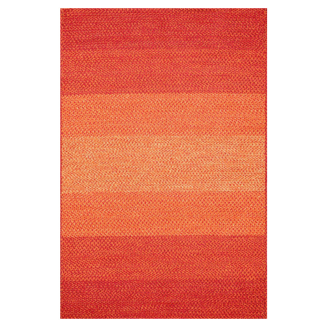 Zadie Coastal Beach Spice Red Outdoor Rug - Sample