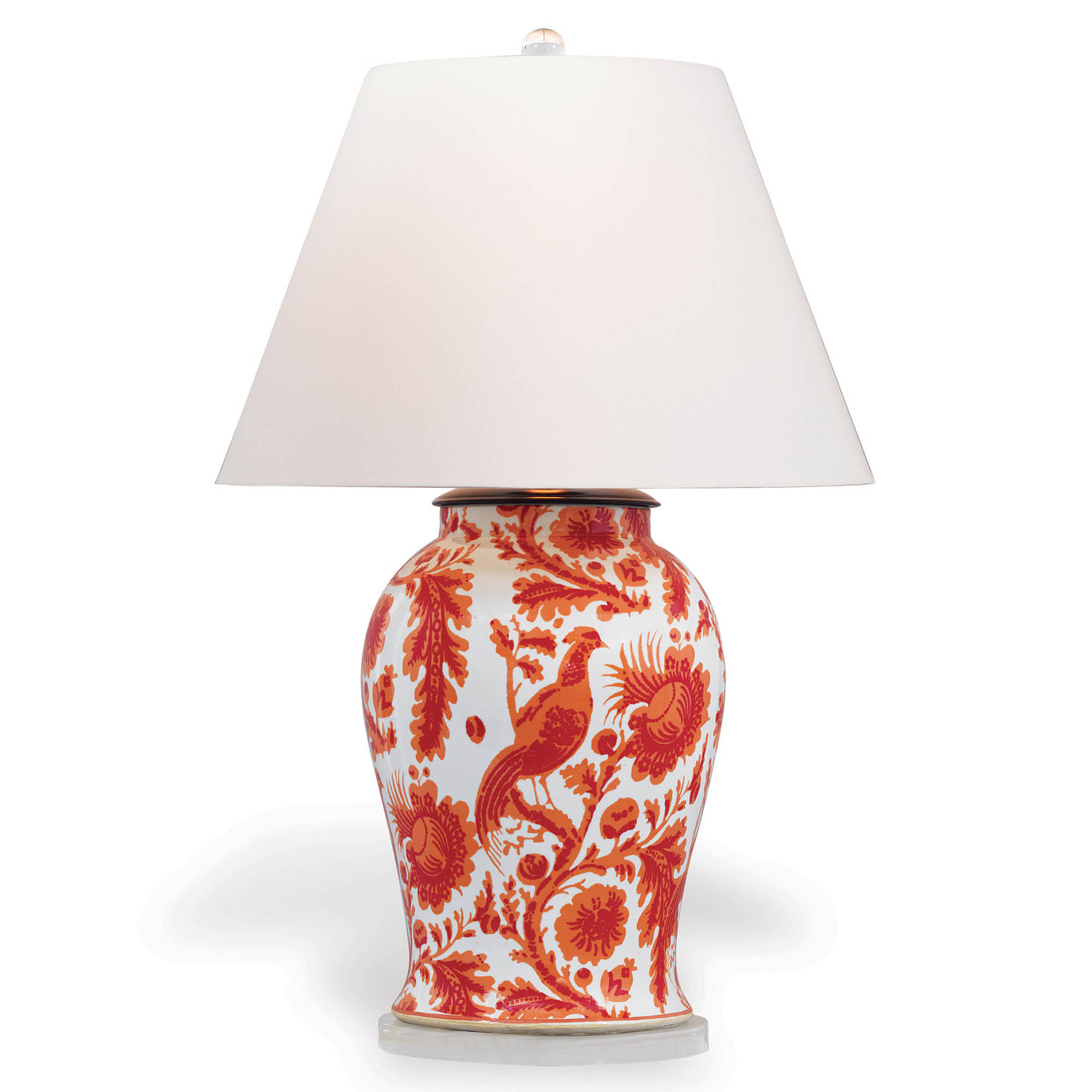 Adrial Global Orange Floral Bird Porcelain Table Lamp