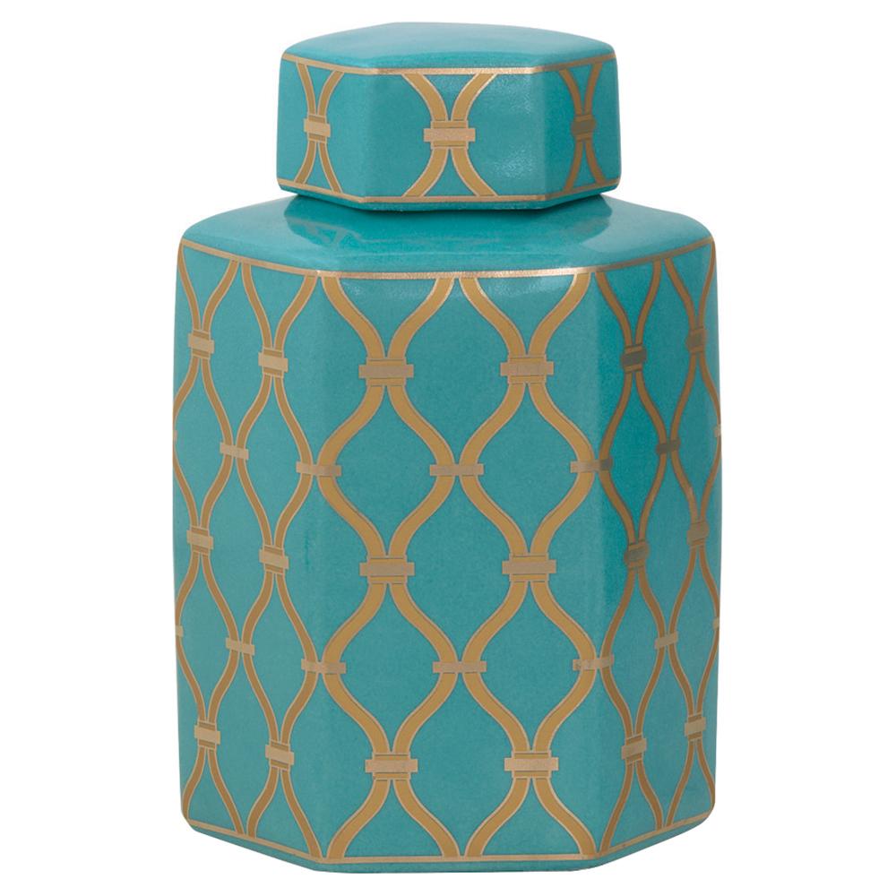 Ashana Global Bazaar Gold Trellis Teal Porcelain Jar - 11H