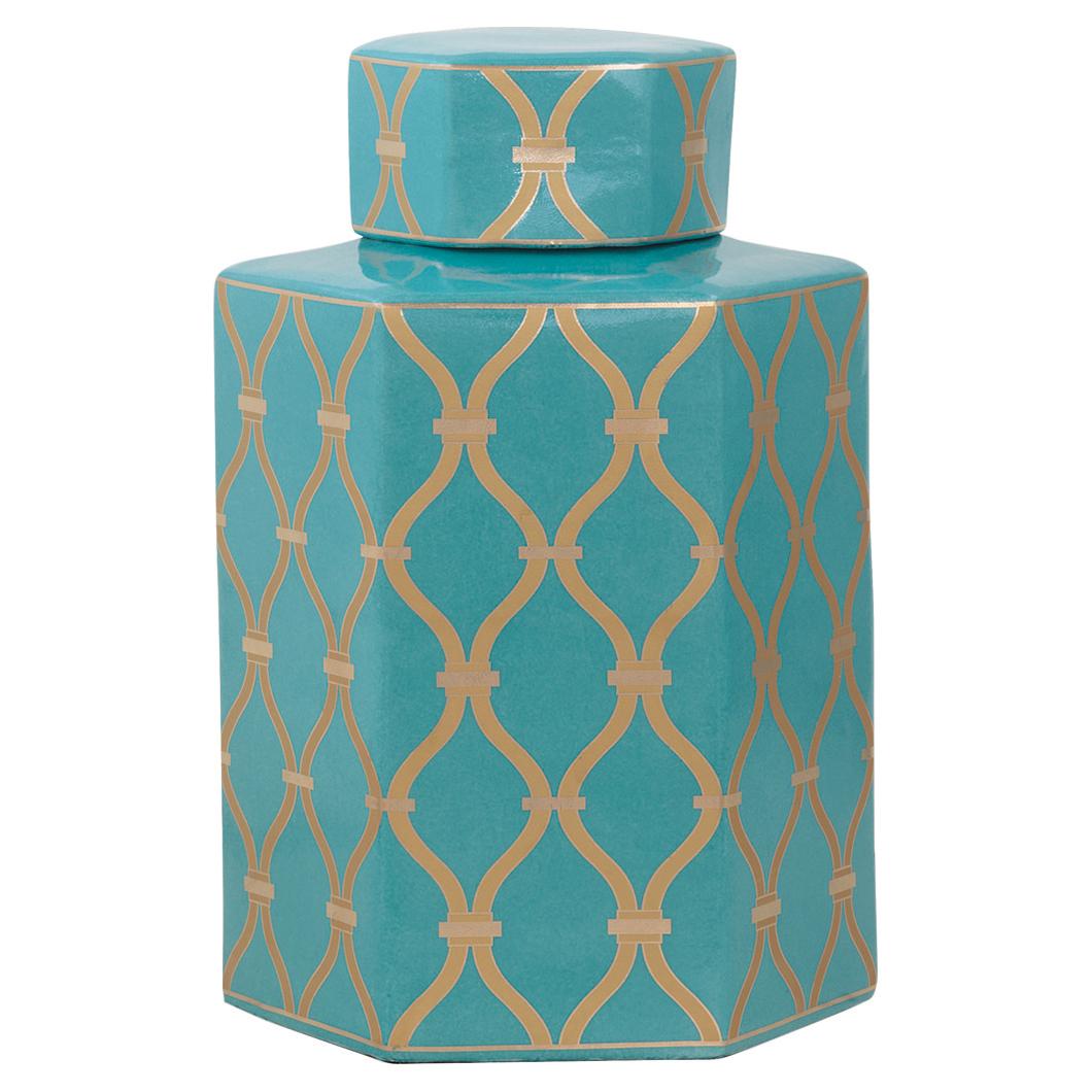 Ashana Global Bazaar Gold Trellis Teal Porcelain Jar - 16H