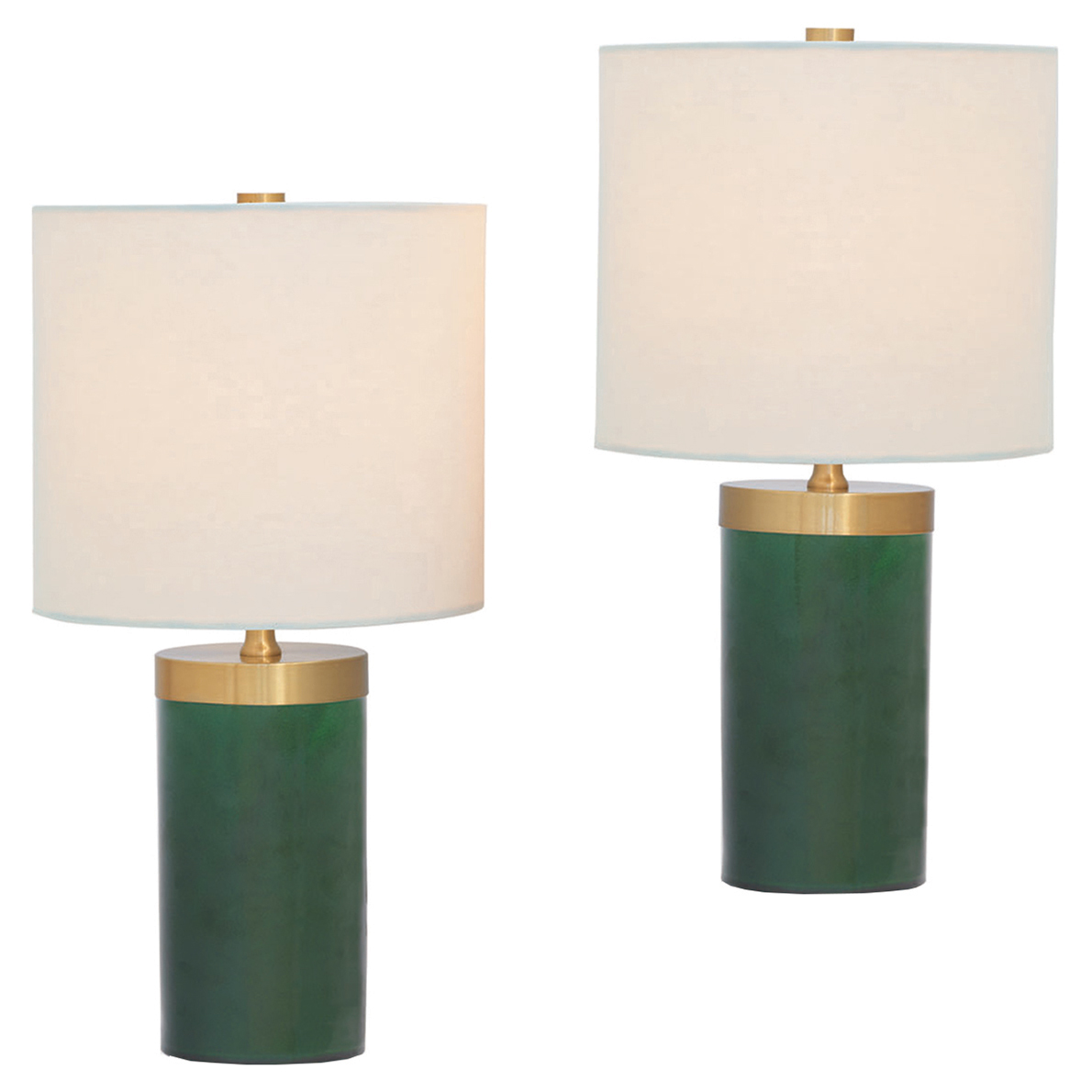 Loraine Modern Emerald Green Cylinder Mini Table Lamps - Pair