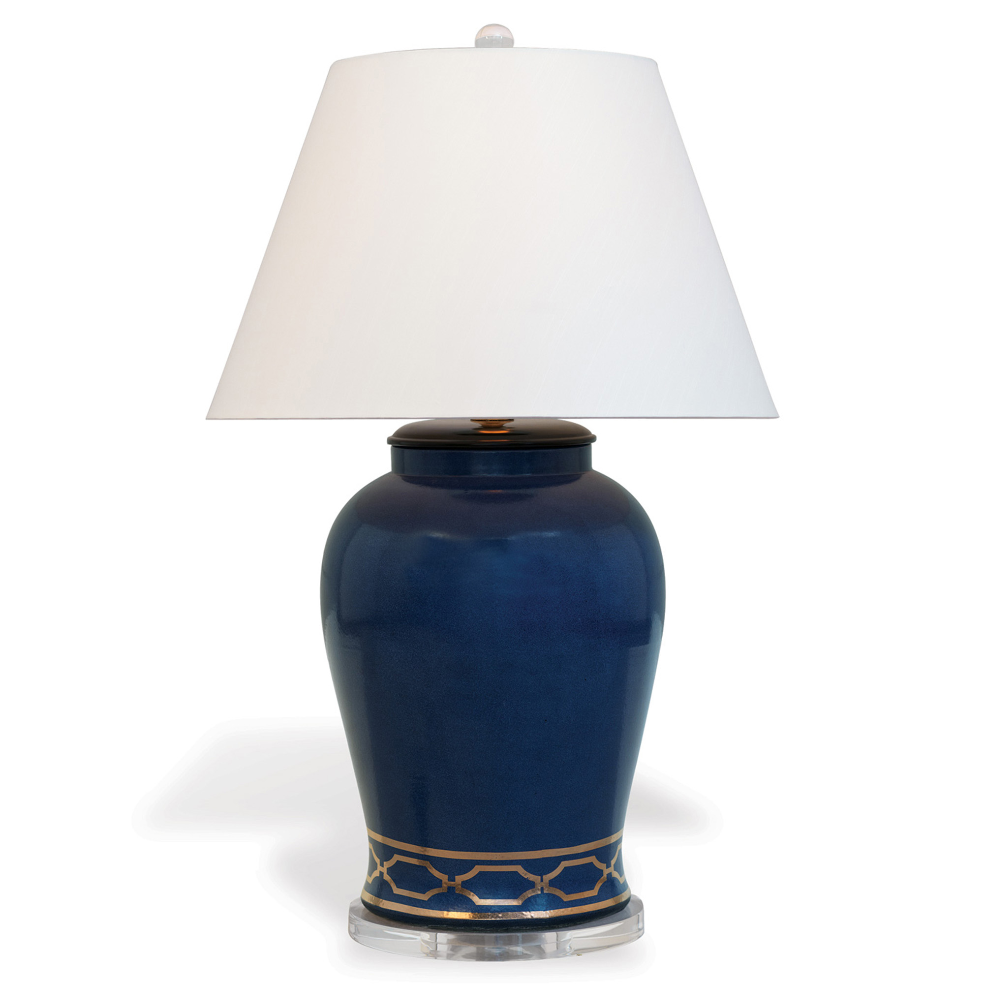 Gabriella Modern Gold Trellis Blue Porcelain Lucite Table Lamp