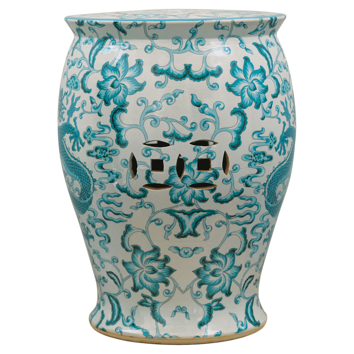 Lydia Global Bazaar Turquoise Dragon Motif Porcelain Garden Stool
