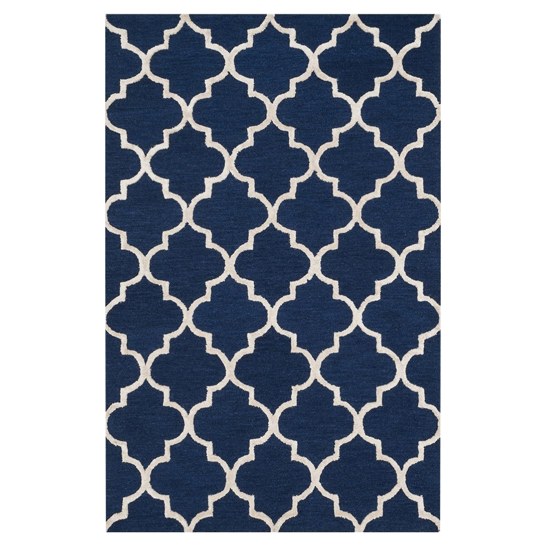 Casa Coastal Modern Navy Trellis Wool Rug - Sample