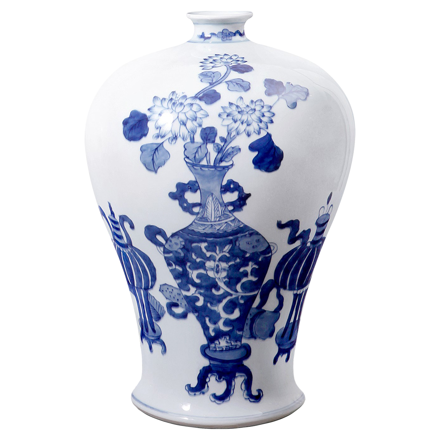 Vanessa Global Bazaar Blue Blossom Narrow Neck Vase