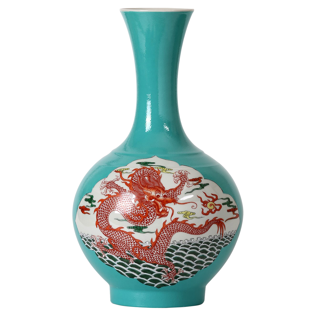 Duyi Global Red Dragon Tall Narrow Neck Turquoise Gourd Vase
