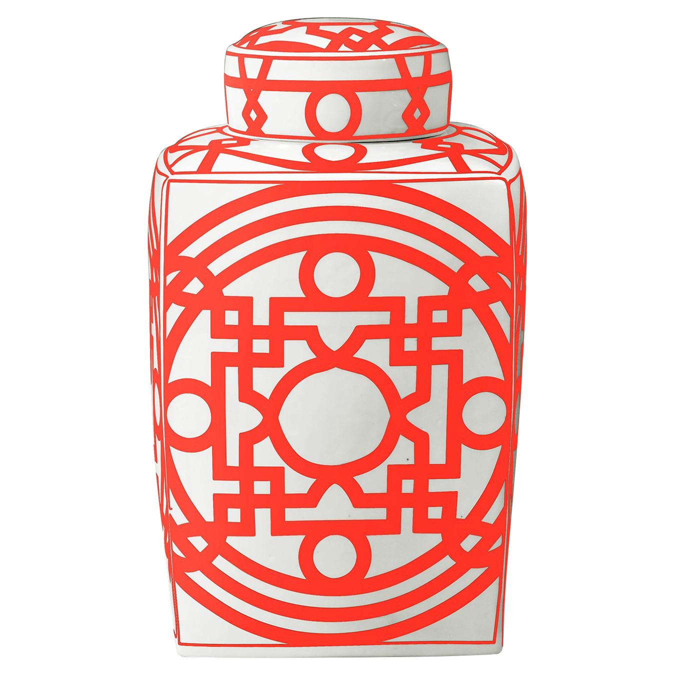 Hai Global Bazaar Orange Chinoiserie Fretwork Square Jar