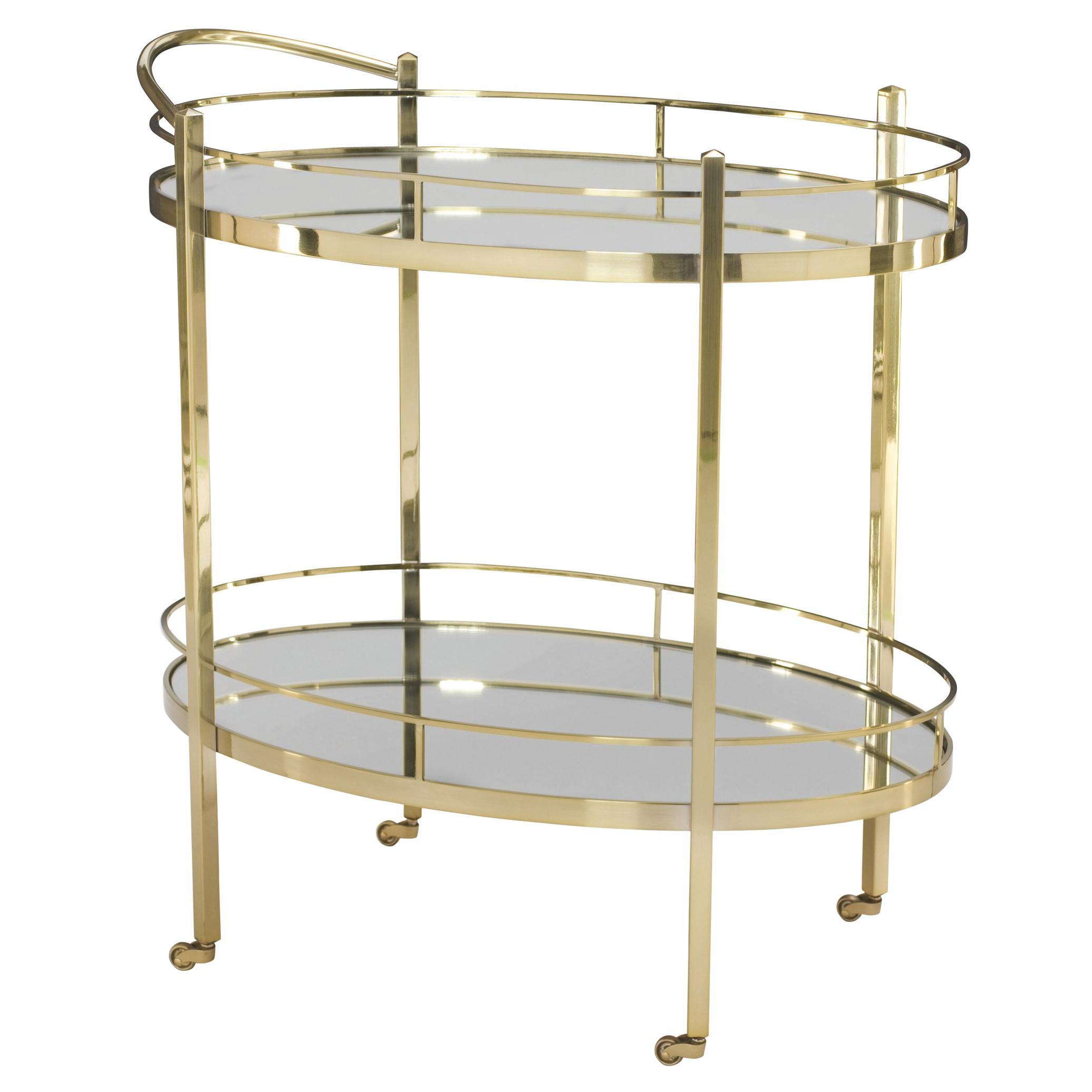 Crawford Hollywood Polished Brass Mirror Bar Cart