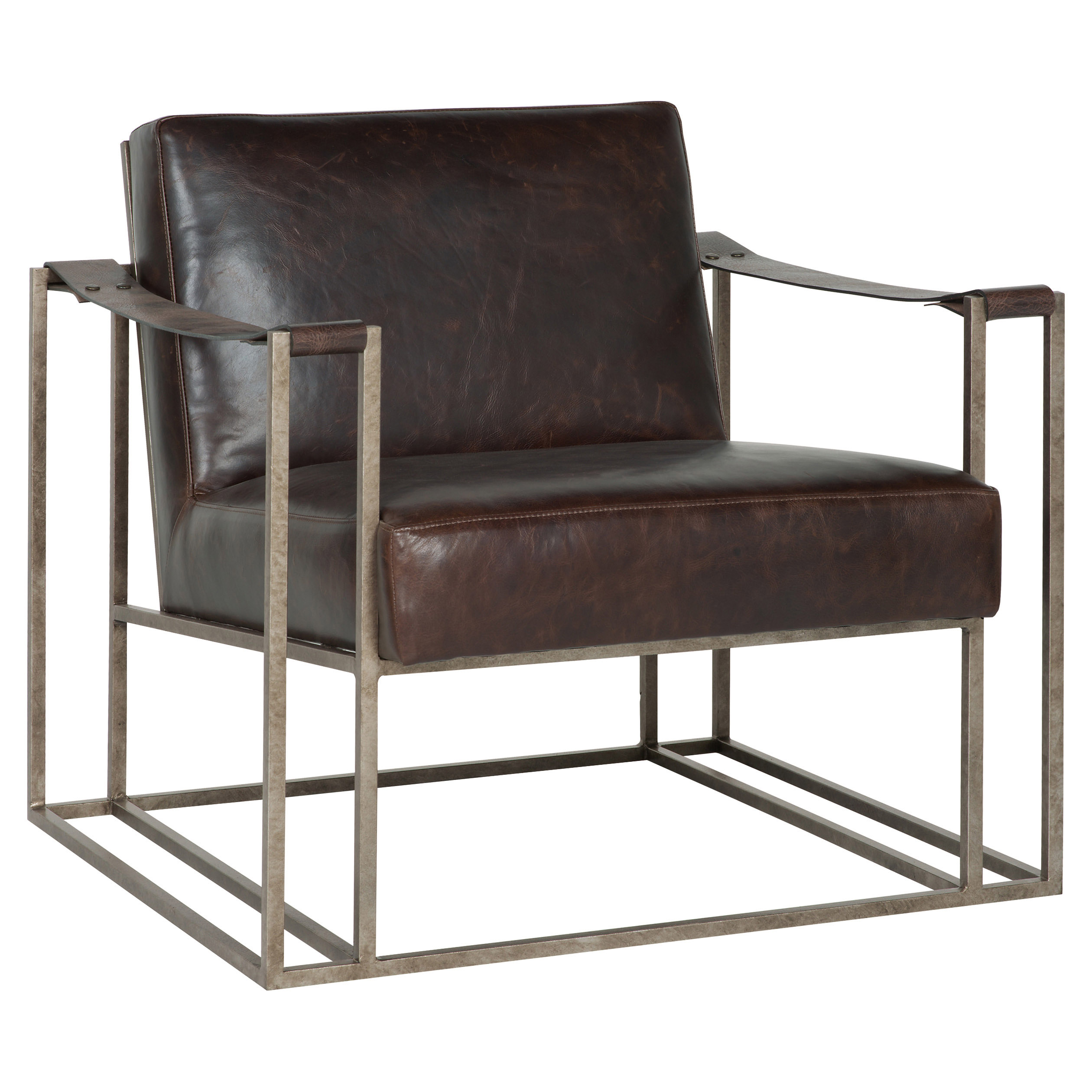 Gideon Industrial Silver Metal Leather Strap Armchair