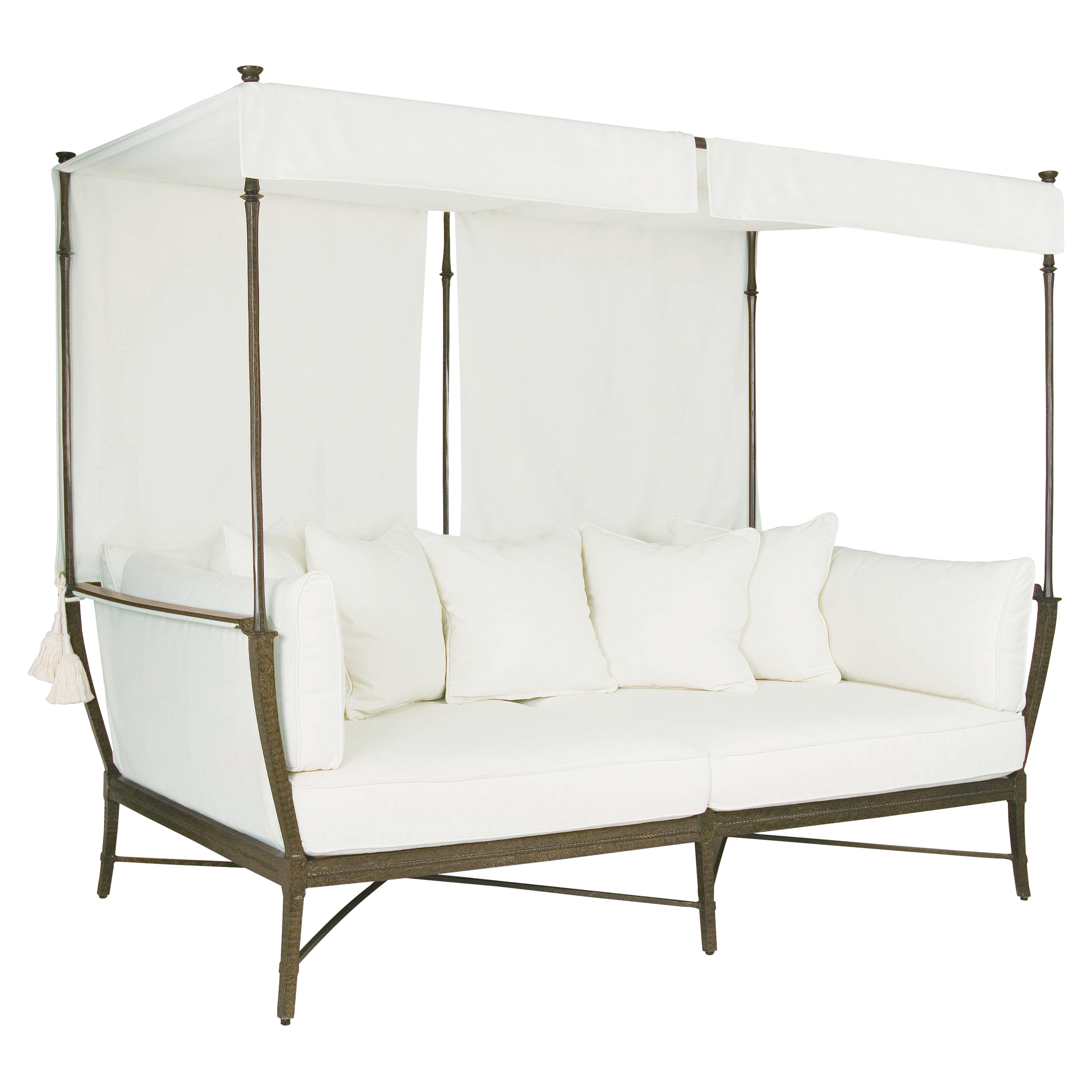 Jane Modern French White Canopy Metal Outdoor Daybed  sc 1 st  Kathy Kuo Home & Designer Outdoor Sofas And Sectionals - Eclectic Outdoor Sofas And ...