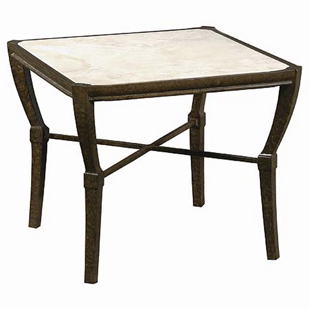Jane Modern French Stone Square Metal Outdoor Side Table