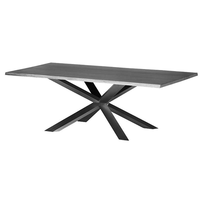 Prudence Industrial Loft Grey Oak Top Black Dining Table - 96W
