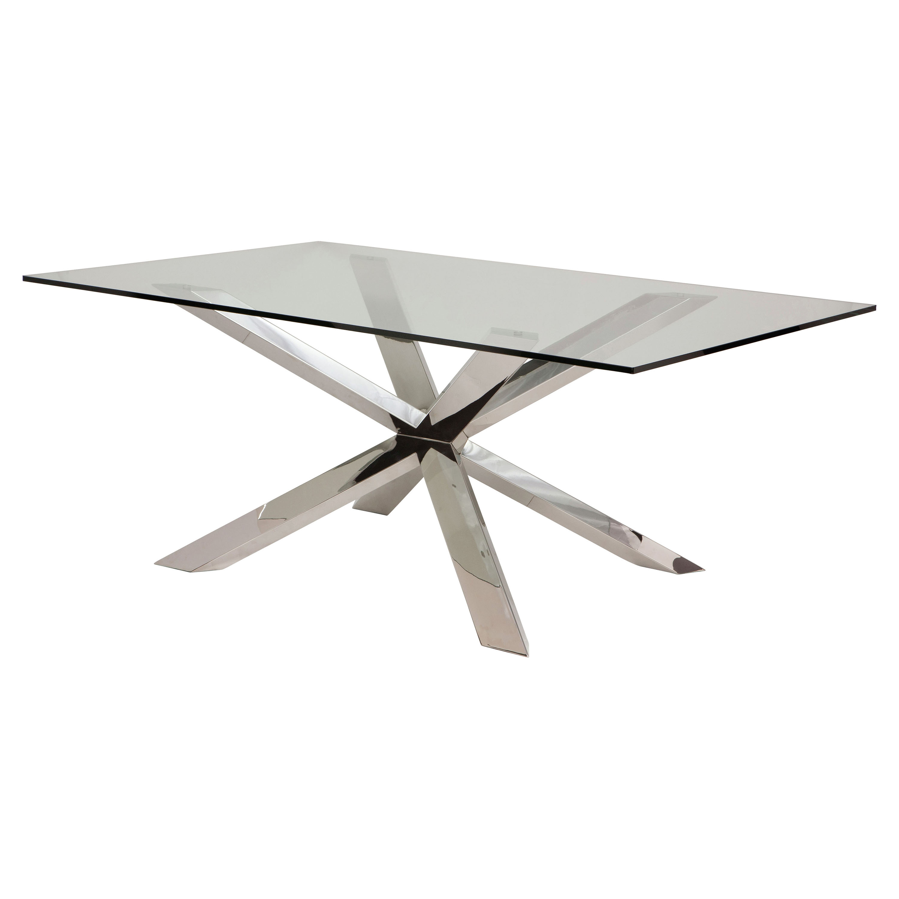Prudence Modern Classic Glass Top Silver Dining Table - 94.5W