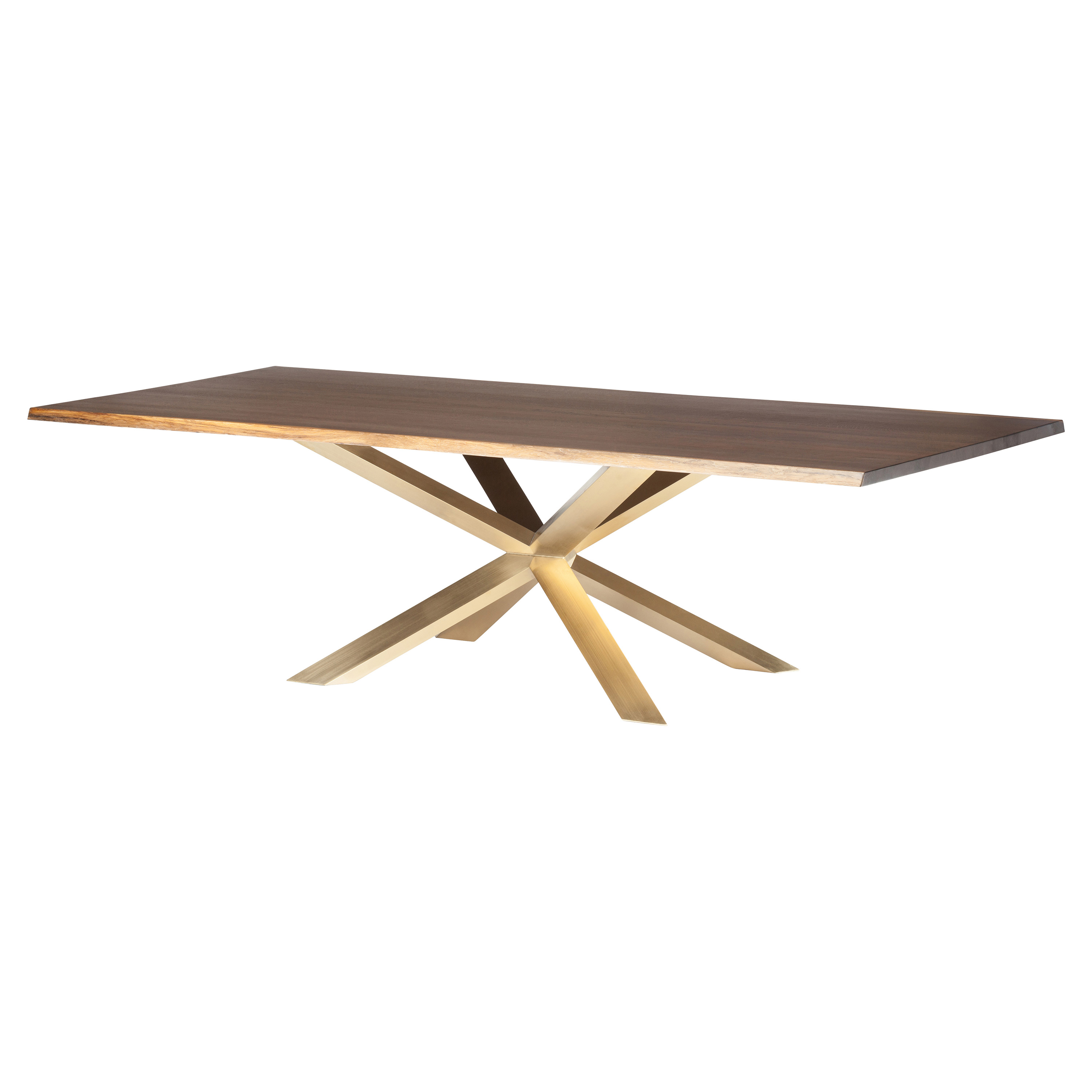 Prudence Modern Classic Oak Top Gold Dining Table - 112W