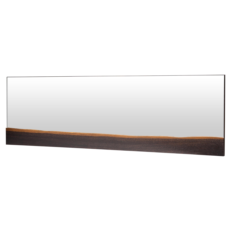 Levi Rustic Lodge Horizontal Brown Oak Wall Mirror - 60W
