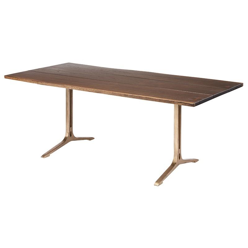 Amity Industrial Loft Dark Oak Bronze Dining Table - 78W