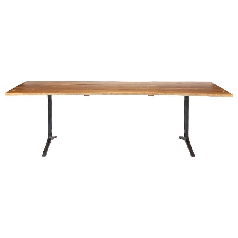 Amity Industrial Loft Honey Oak Black Dining Table - 78W