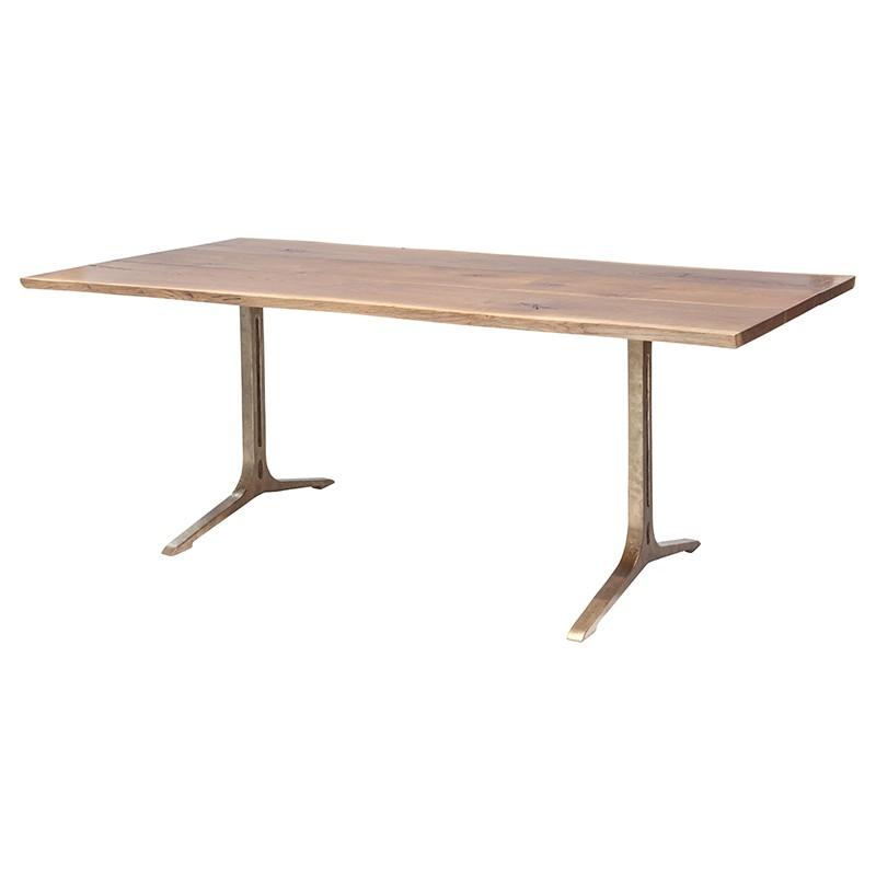 Amity Industrial Loft Honey Oak Bronze Dining Table - 78W