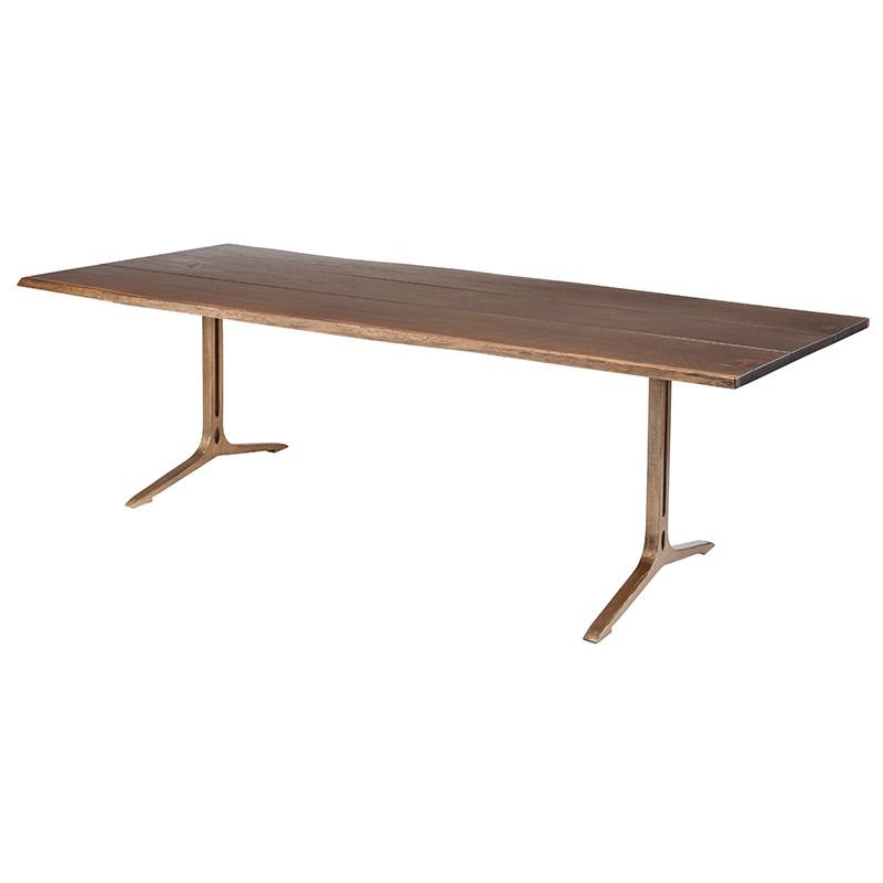 Amity Industrial Loft Dark Oak Bronze Dining Table - 96W