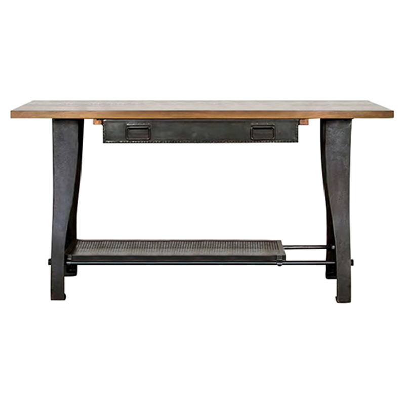 Kaden Industrial Loft Rustic Oak Wood Cast Iron Console Table