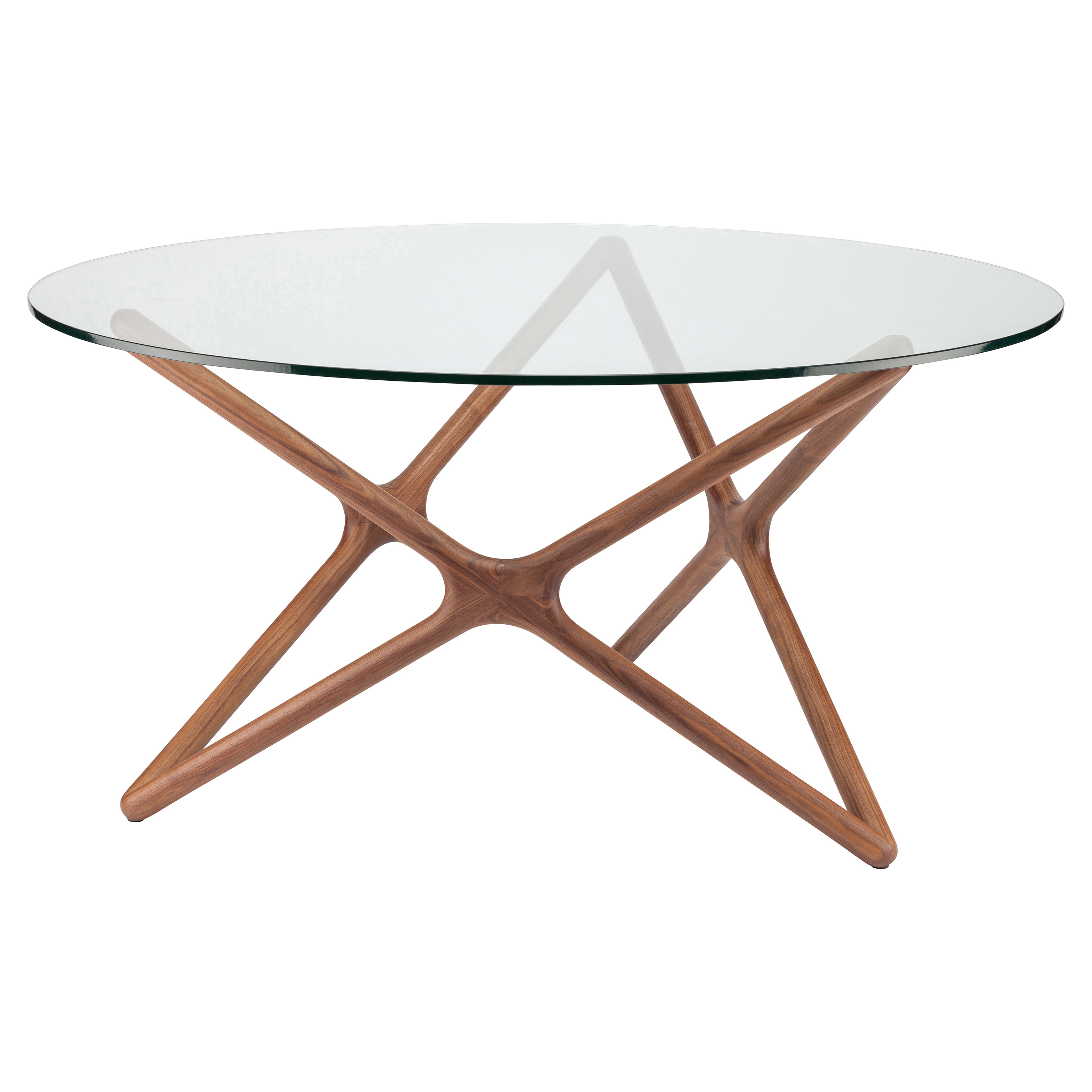 Centauri Modern Glass Top Wood Mid Century Dining Table - 40D