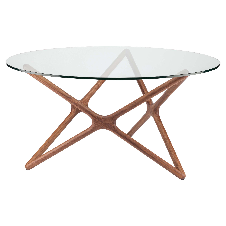 Centauri Modern Glass Top Wood Mid Century Dining Table - 59D
