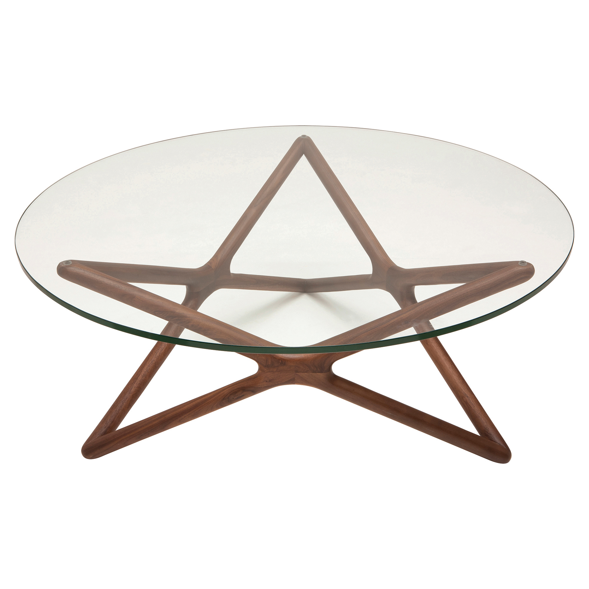 Centauri Modern Glass Top Wood Mid Century Base Coffee Table