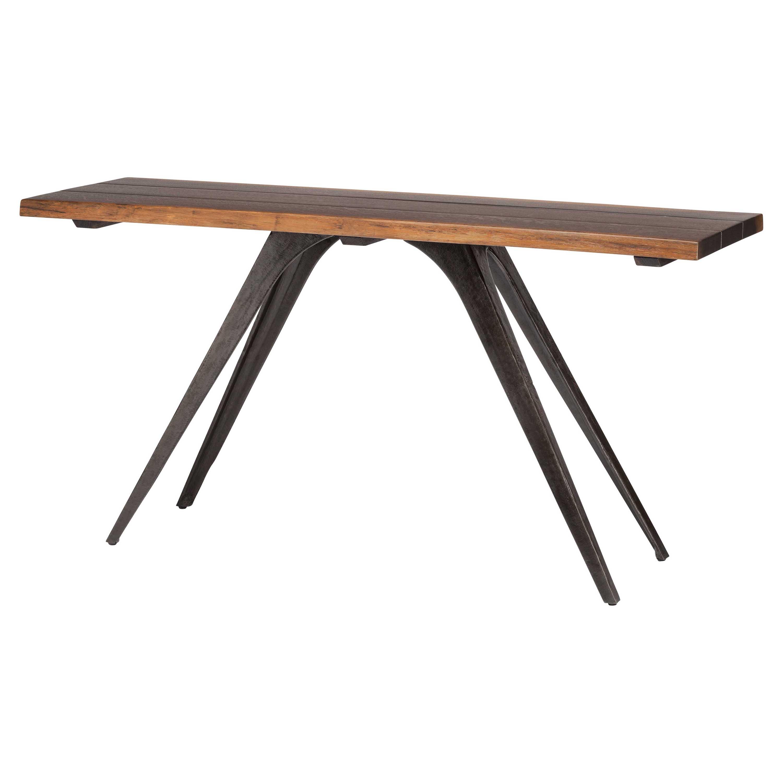 Raine Rustic Lodge Combination Wood Black Console Table