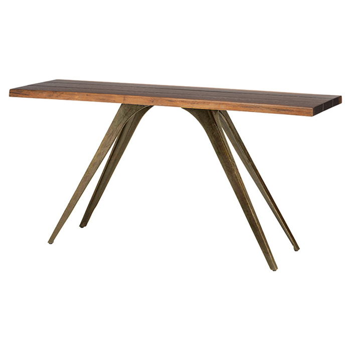 Raine Rustic Lodge Combination Wood Bronze Console Table