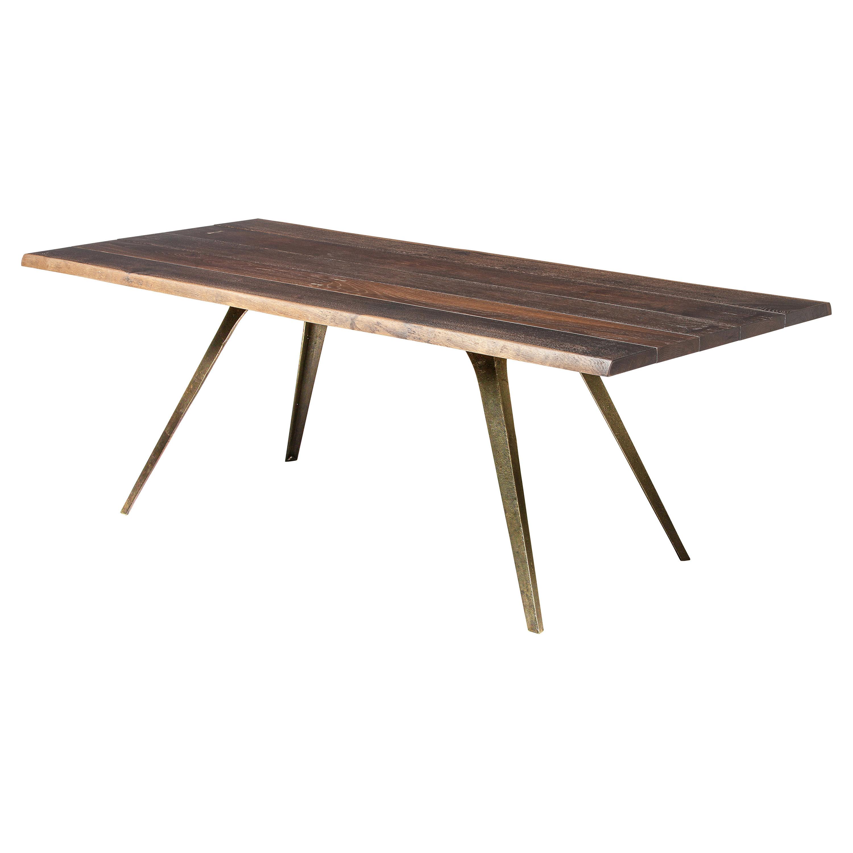 Raine Rustic Lodge Oak Bronze Dining Table - 82.75W
