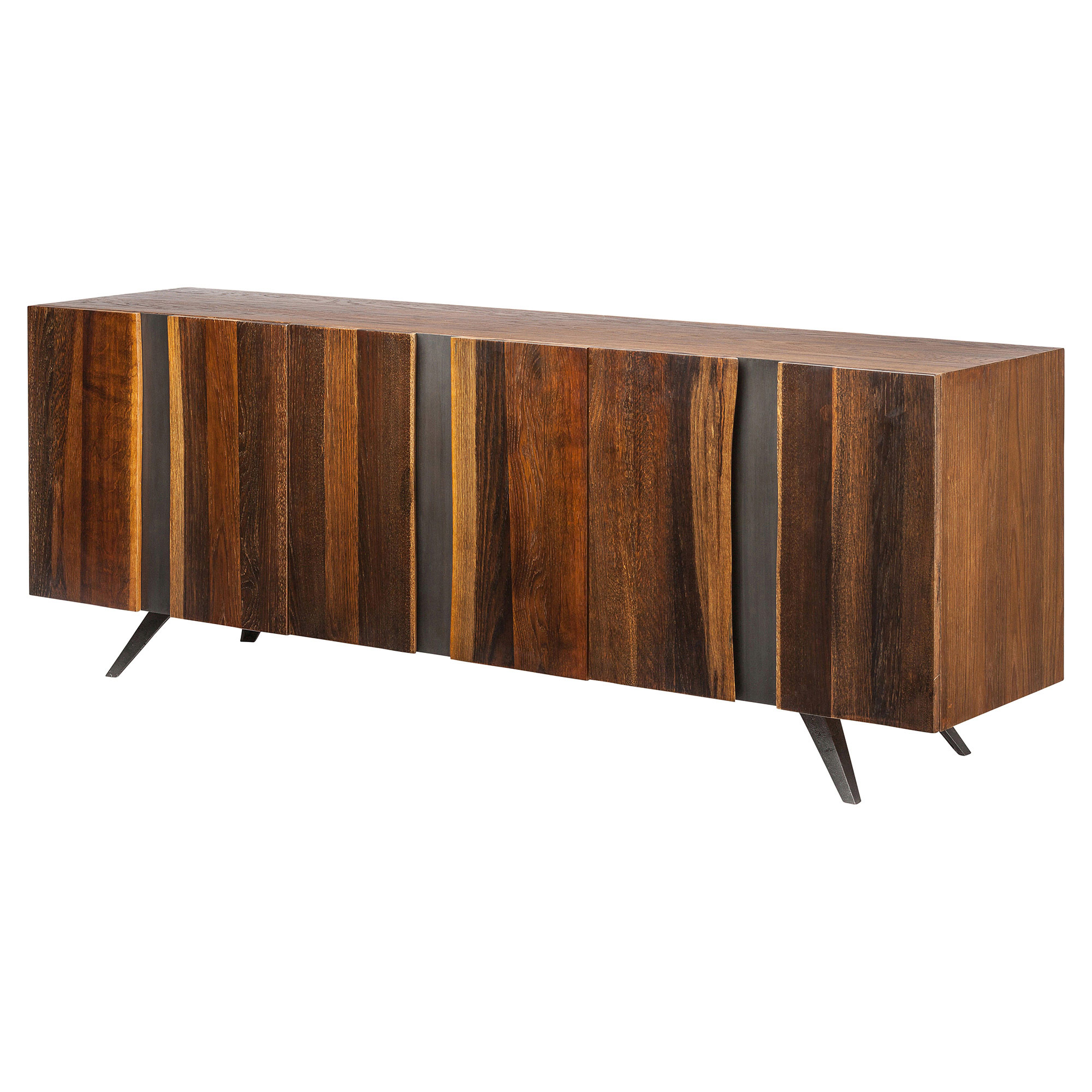 Raine Rustic Lodge Vertical Stria Wood Sideboard Buffet - 78.75W