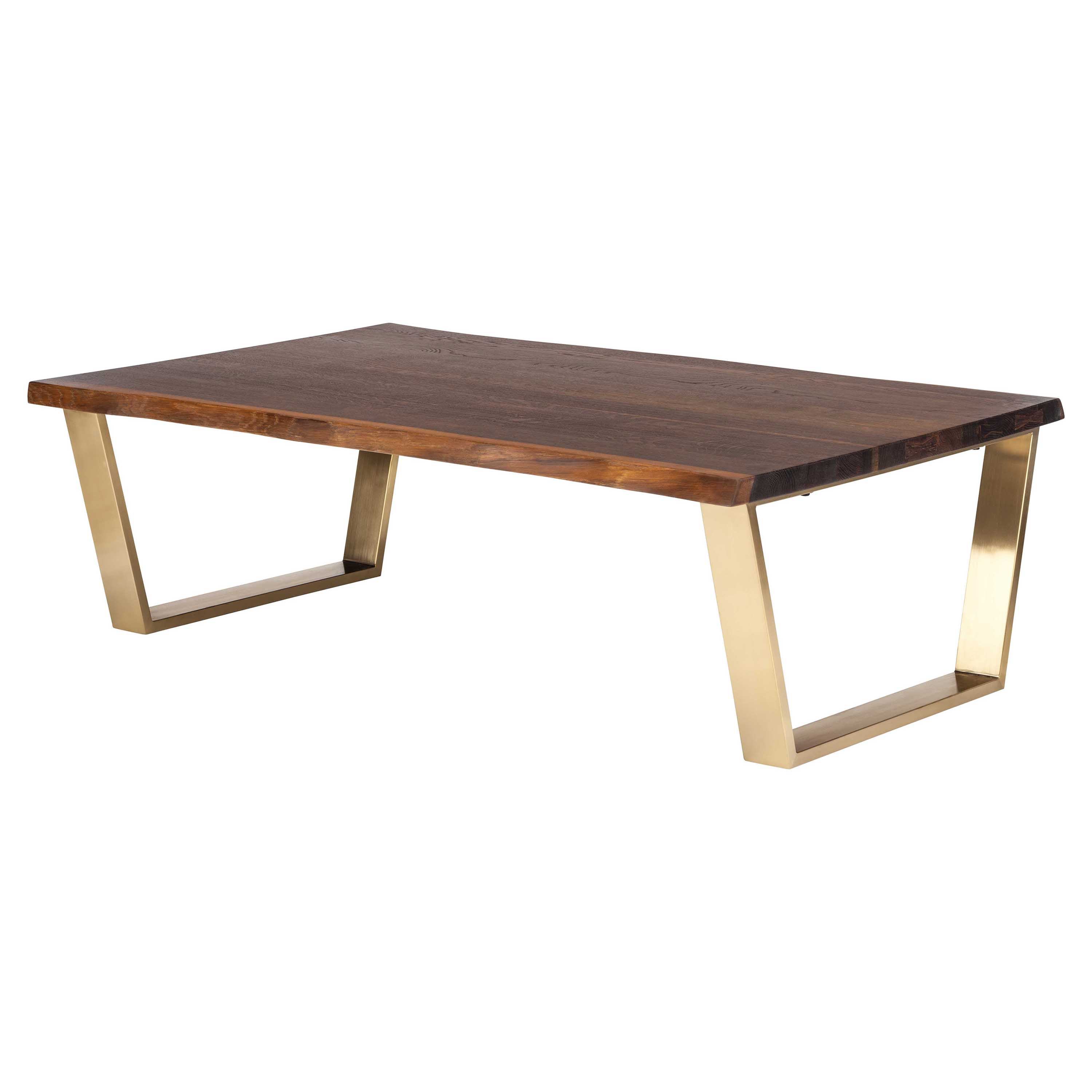 Cogsworth Industrial Brown Oak Gold Coffee Table