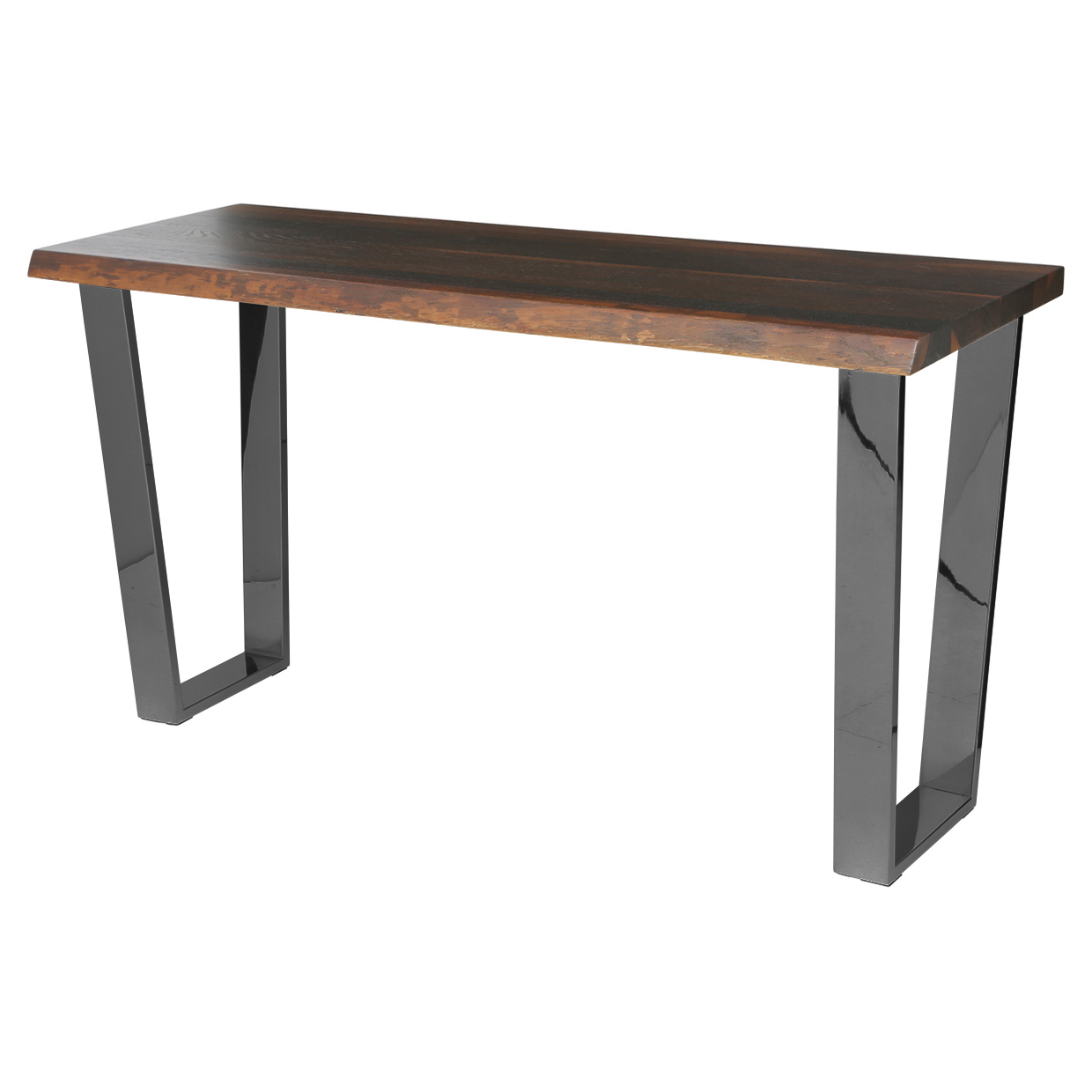 Cogsworth Industrial Brown Oak Black Console Table