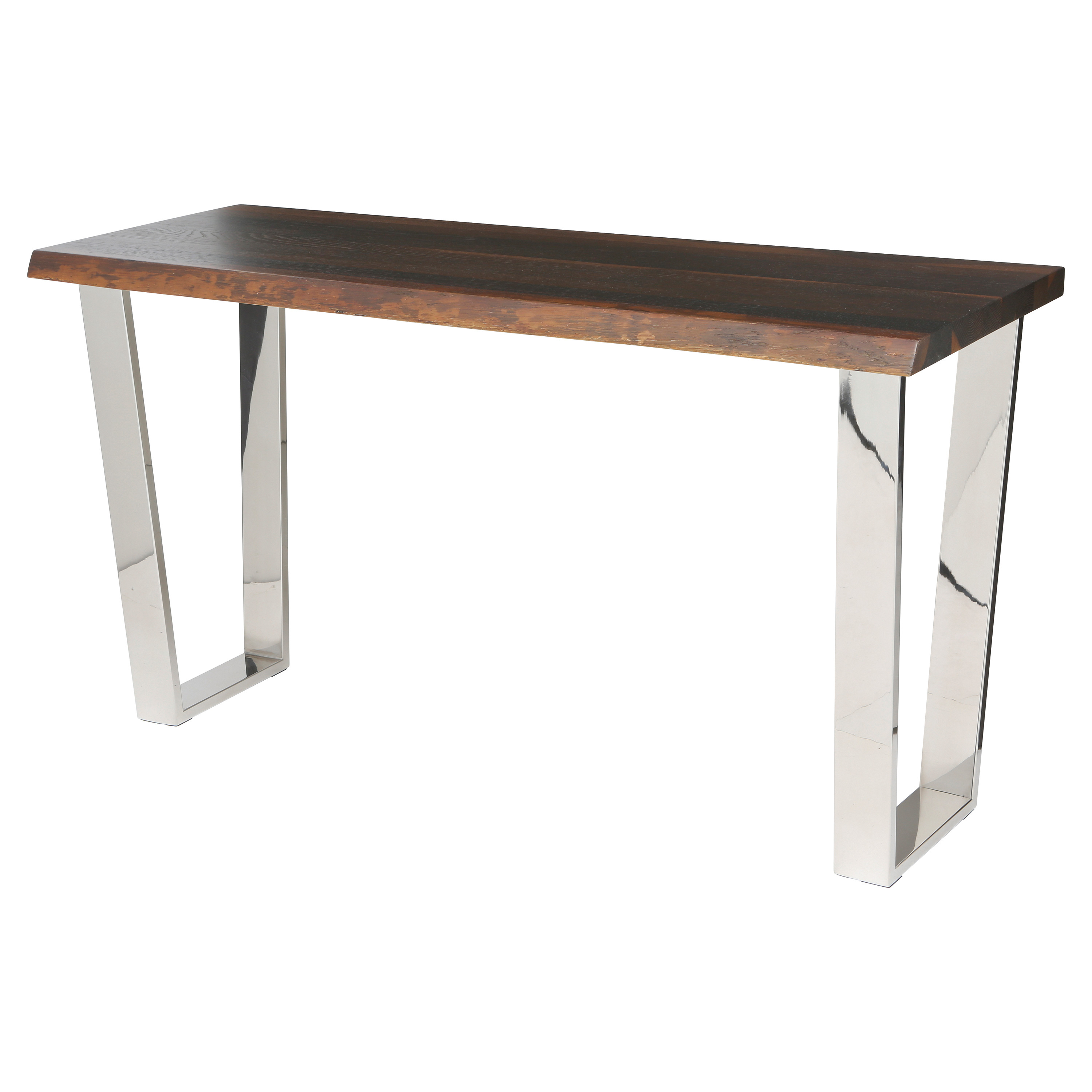 Cogsworth Industrial Brown Oak Stainless Steel Console Table