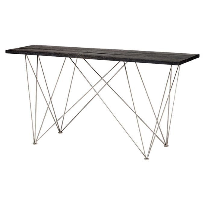 Bentley Industrial Black Oak Stainless Steel Leg Console Table